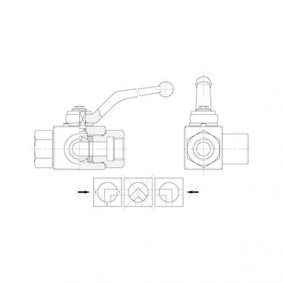 Robinet hidraulic 3 cai cu bila si filet interior GAZ - 8041